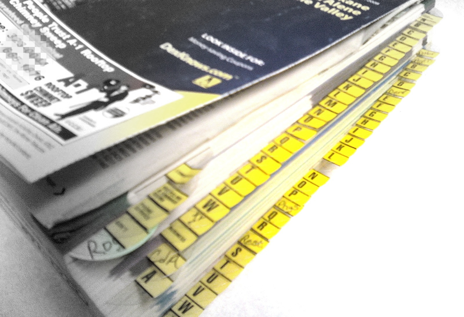 Index Tabs to help organize your phone book
